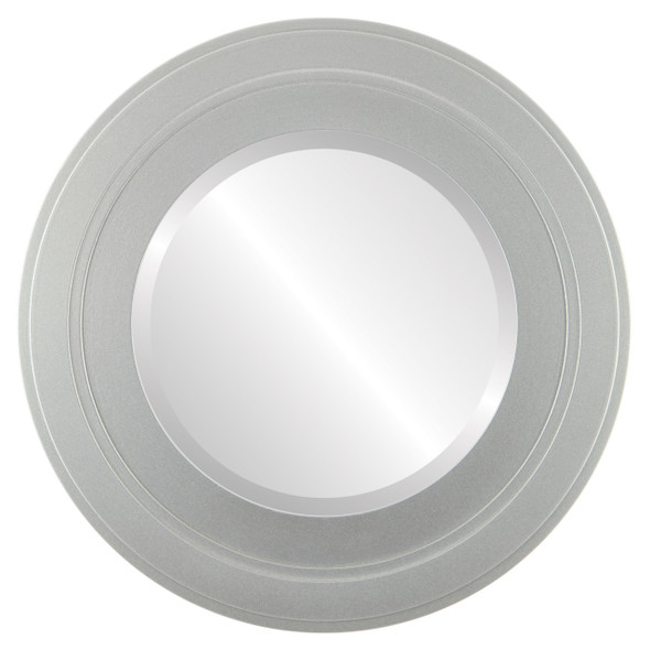 Beveled Mirror - Palomar Round Frame - Bright Silver