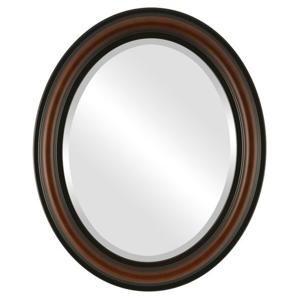 Beveled Mirror - Philadelphia Oval Frame - Walnut