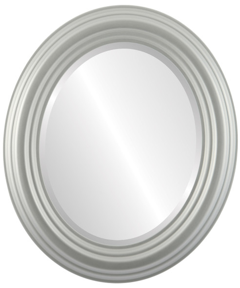 Beveled Mirror - Regalia Oval Frame - Bright Silver