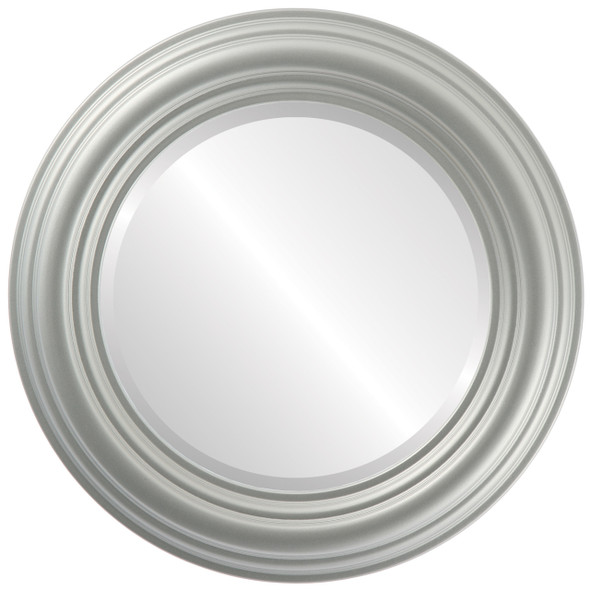 Beveled Mirror - Regalia Round Frame - Bright Silver