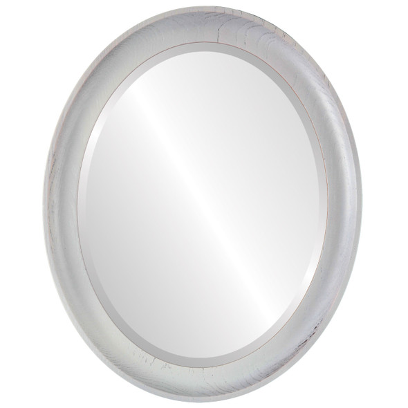 Beveled Mirror - Vancouver Oval Frame - Country White