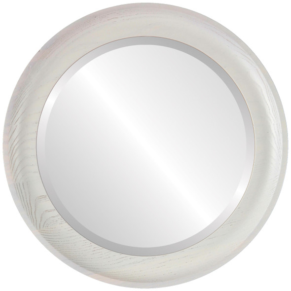 Beveled Mirror - Vancouver Round Frame - Country White