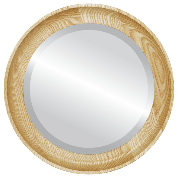 Beveled Mirror - Vancouver Round Frame - Honey Oak
