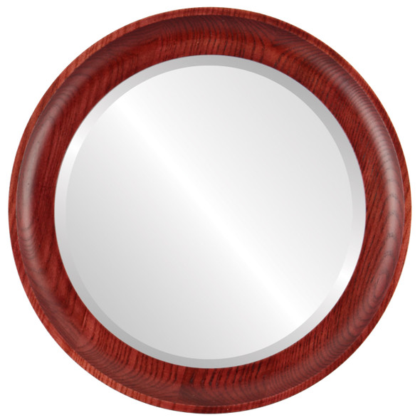 Beveled Mirror - Vancouver Round Frame - Rosewood