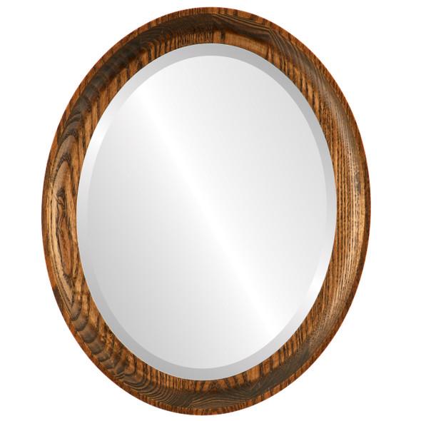 Beveled Mirror - Vancouver Oval Frame - Toasted Oak