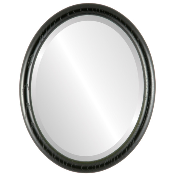 Beveled Mirror - Sydney Oval Frame - Matte Black