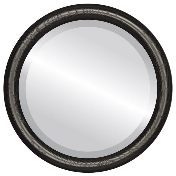 Beveled Mirror - Sydney Round Frame - Matte Black