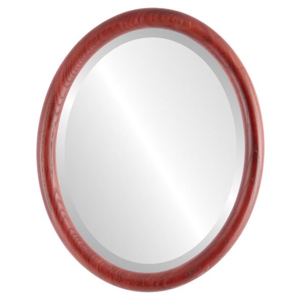 Beveled Mirror - Sydney Oval Frame - Rosewood