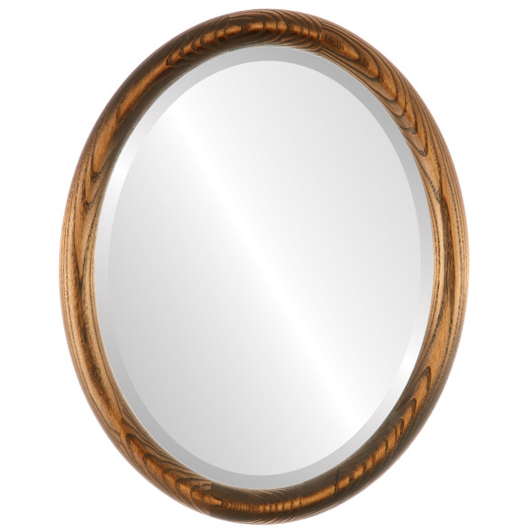 Beveled Mirror - Sydney Oval Frame - Toasted Oak