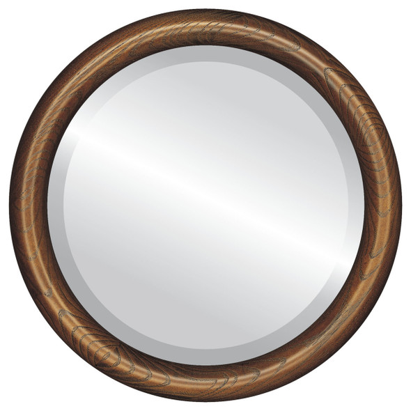 Beveled Mirror - Sydney Round Frame - Toasted Oak