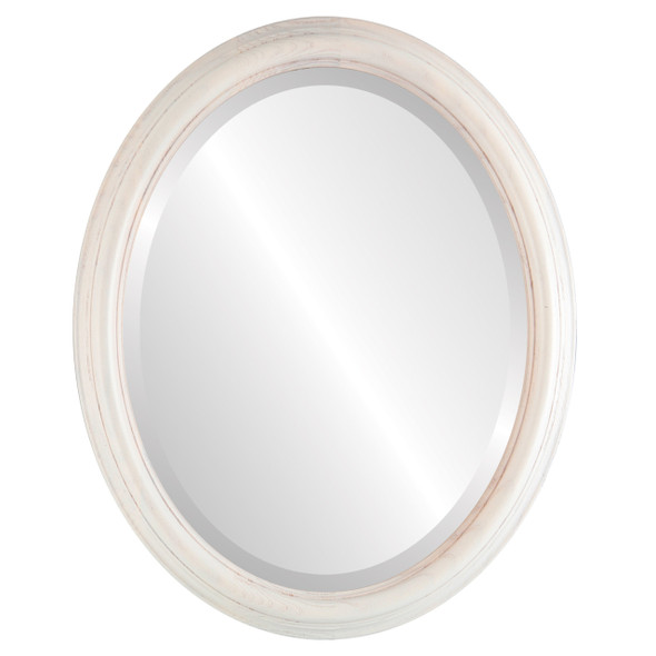 Beveled Mirror - Melbourne Oval Frame - Country White