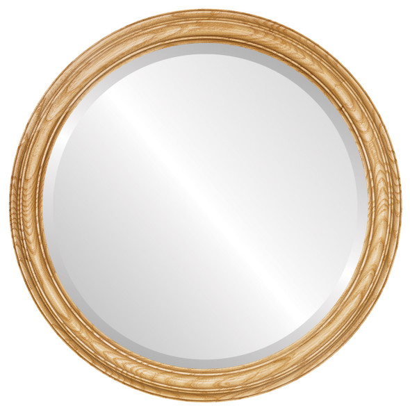 Beveled Mirror - Melbourne Round Frame - Honey Oak