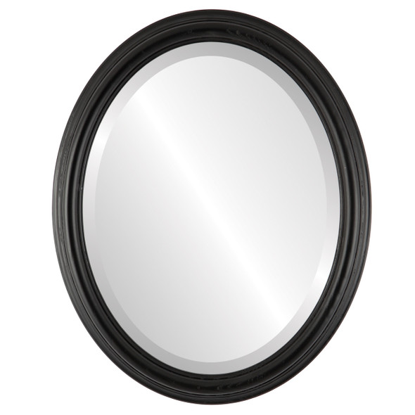 Beveled Mirror - Melbourne Oval Frame - Matte Black