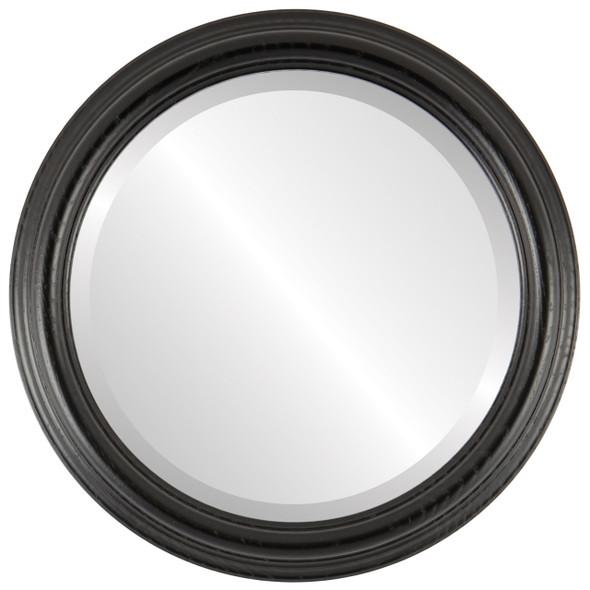 Beveled Mirror - Melbourne Round Frame - Matte Black