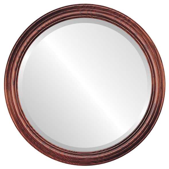Beveled Mirror - Melbourne Round Frame - Rosewood