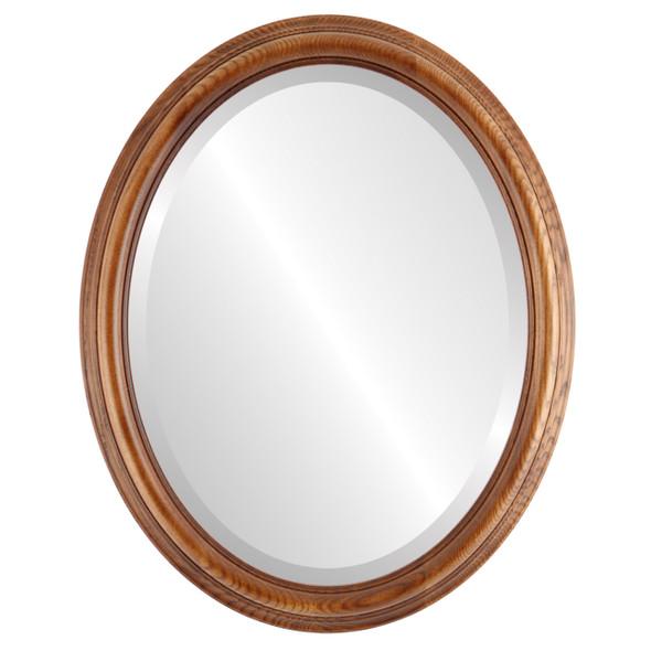 Beveled Mirror - Melbourne Oval Frame - Toasted Oak