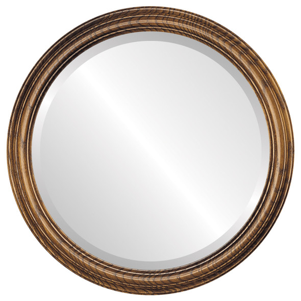 Beveled Mirror - Melbourne Round Frame - Toasted Oak