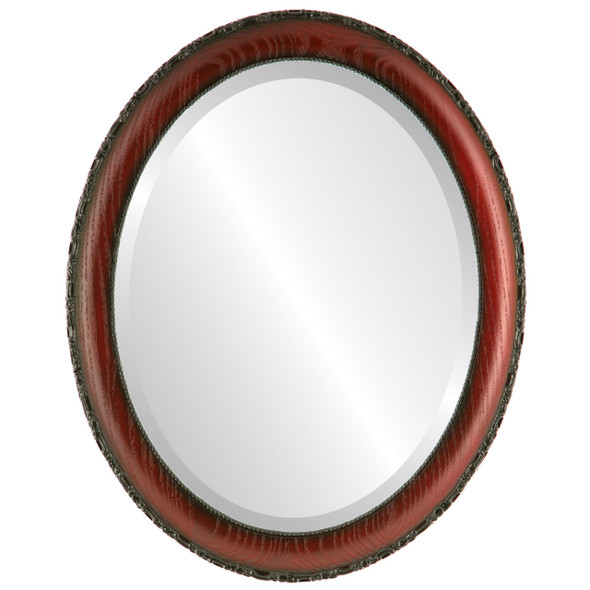 Beveled Mirror - Brookline Oval Frame - Rosewood