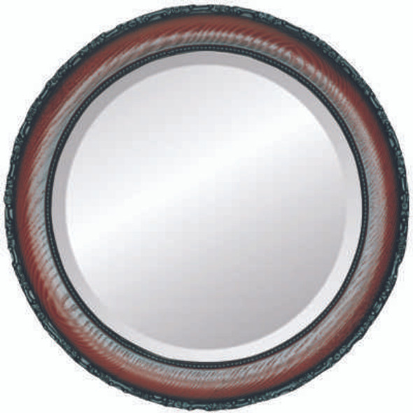 Beveled Mirror - Brookline Round Frame - Rosewood