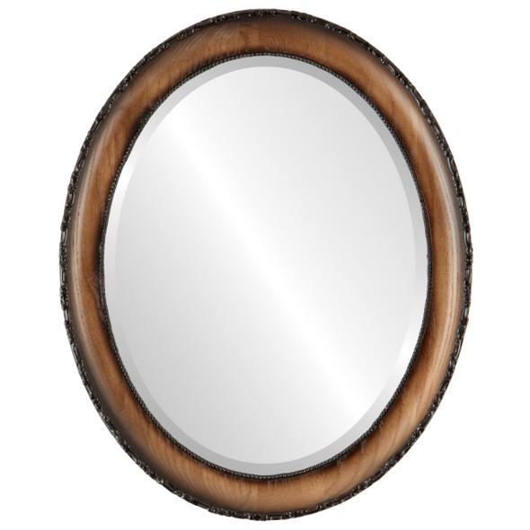 Beveled Mirror - Brookline Oval Frame - Toasted Oak