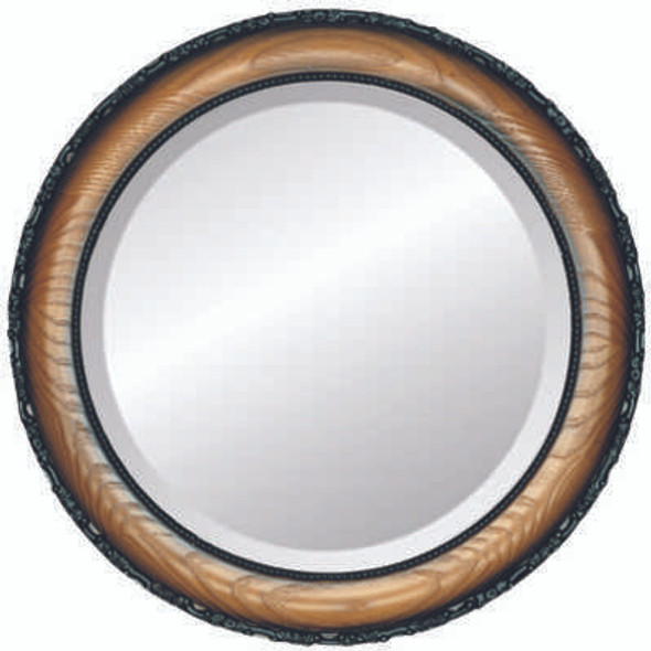 Beveled Mirror - Brookline Round Frame - Toasted Oak