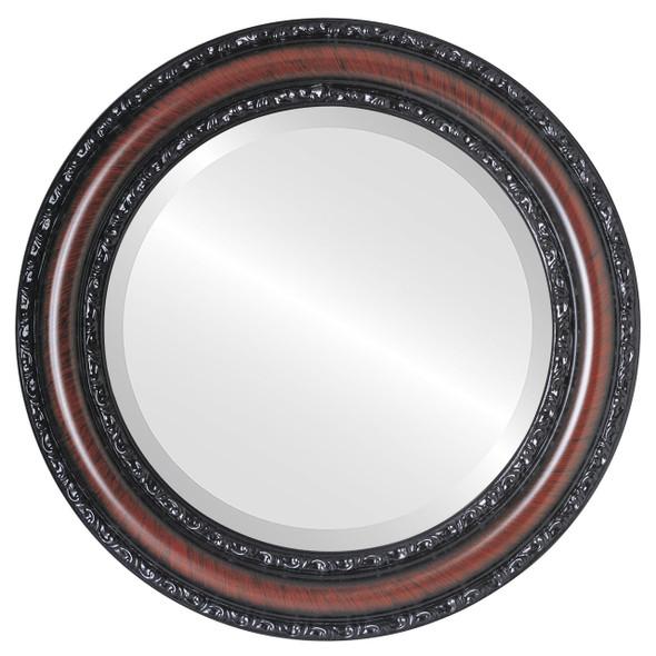 Beveled Mirror - Dorset Round Frame - Vintage Cherry