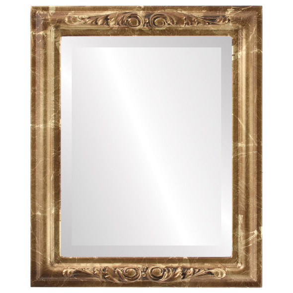 Beveled Mirror - Florence Rectangle Frame - Champagne Gold