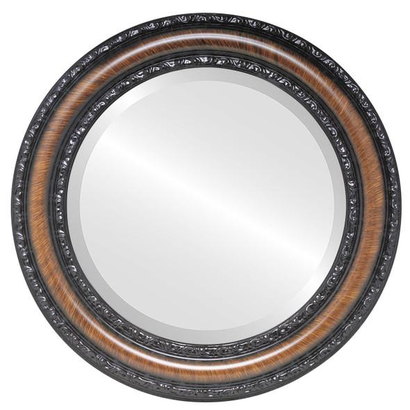 Beveled Mirror - Dorset Round Frame - Vintage Walnut