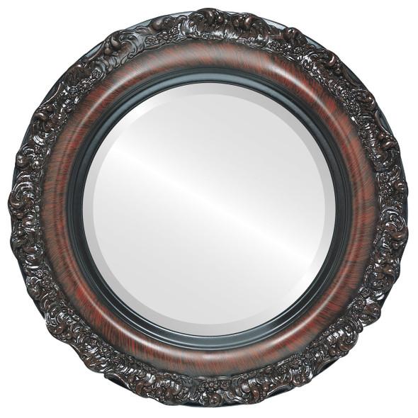 Beveled Mirror - Venice Round Frame - Vintage Cherry