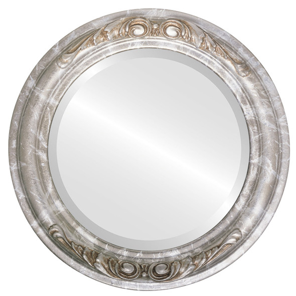 Beveled Mirror - Florence Round Frame - Champagne Silver