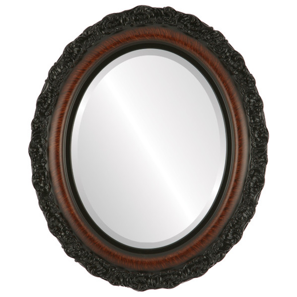 Beveled Mirror - Venice Oval Frame - Vintage Walnut