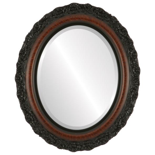 Beveled Mirror - Venice Oval Frame - Vintage Walnut