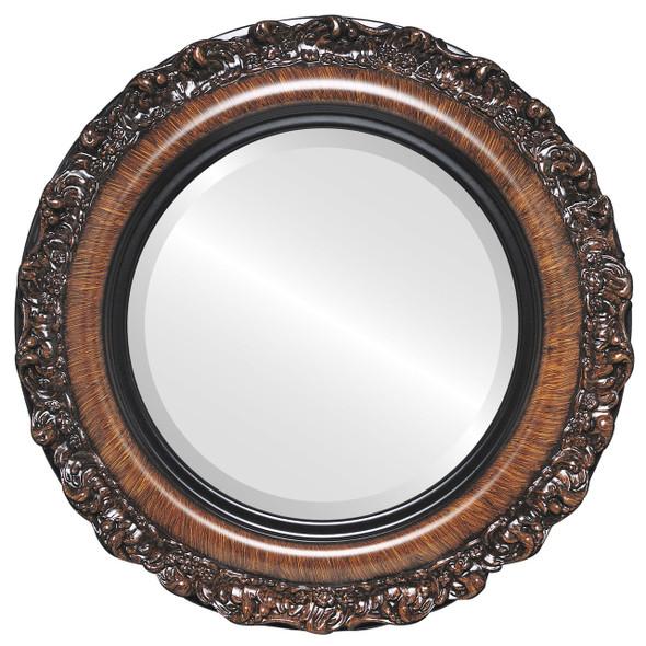 Beveled Mirror - Venice Round Frame - Vintage Walnut