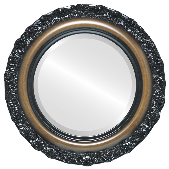 Beveled Mirror - Venice Round Frame - Walnut