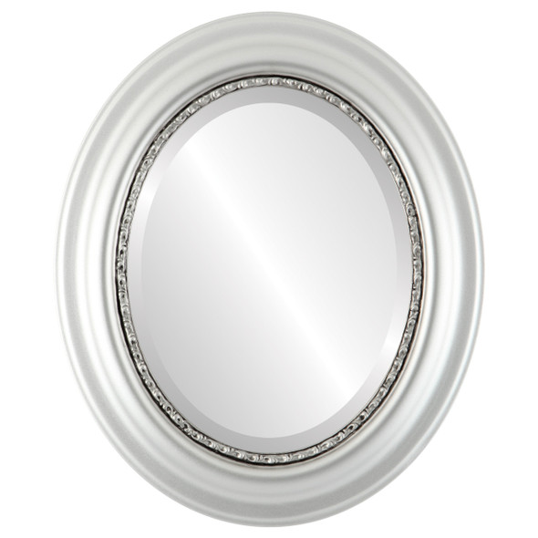 Beveled Mirror - Chicago Oval Frame - Silver Spray