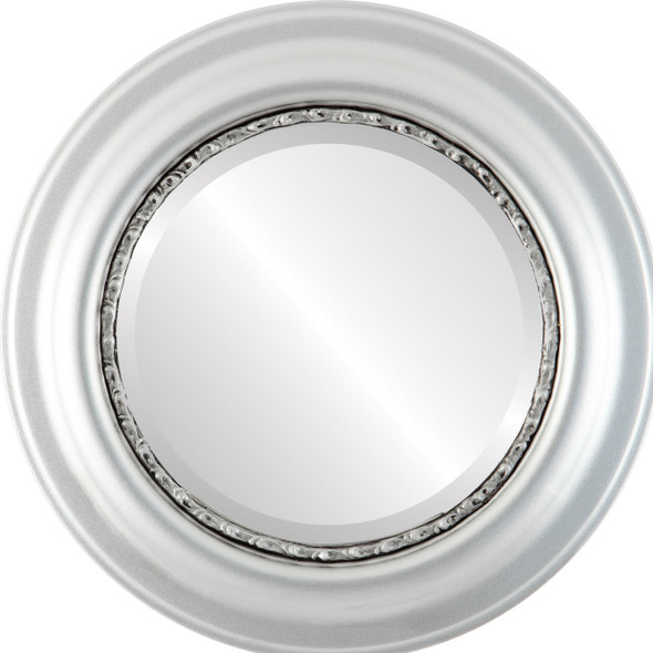 Beveled Mirror - Chicago Round Frame - Silver Spray
