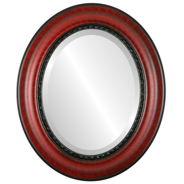Beveled Mirror - Chicago Oval Frame - Vintage Cherry