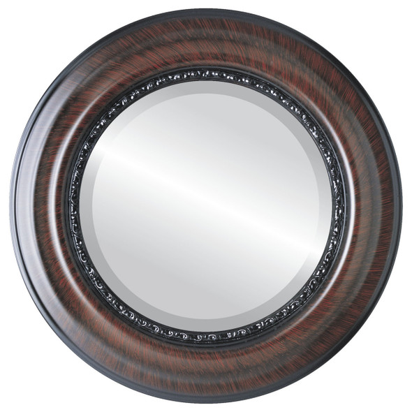 Beveled Mirror - Chicago Round Frame - Vintage Cherry