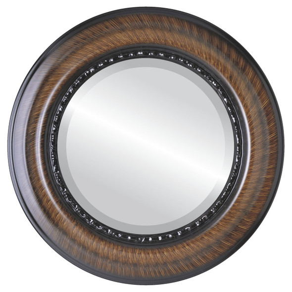 Beveled Mirror - Chicago Round Frame - Vintage Walnut