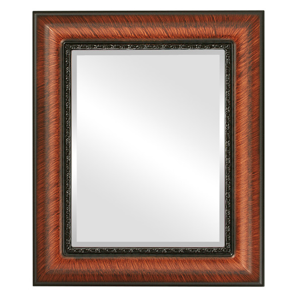 Beveled Mirror - Chicago Rectangle Frame - Vintage Walnut
