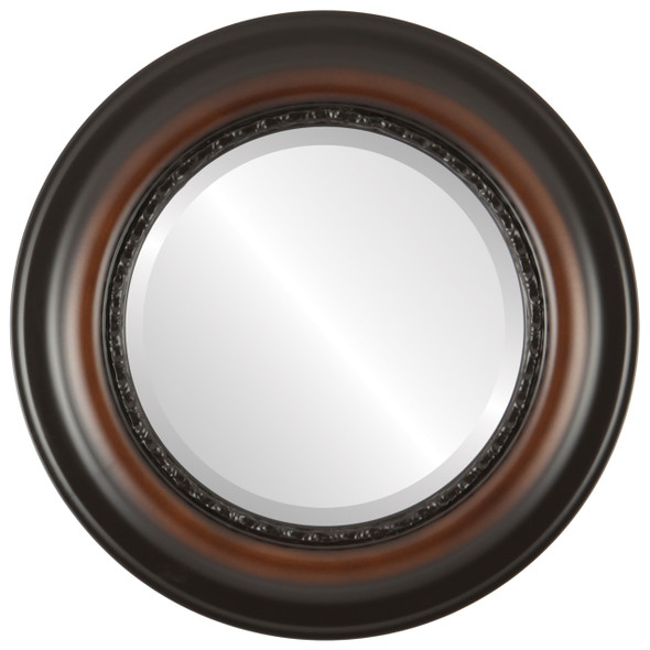 Beveled Mirror - Chicago Round Frame - Walnut