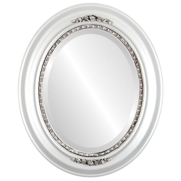 Beveled Mirror - Boston Oval Frame - Silver Spray