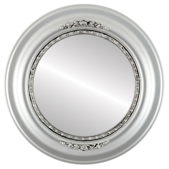 Beveled Mirror - Boston Round Frame - Silver Spray