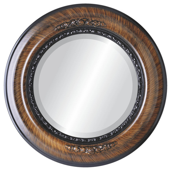 Beveled Mirror - Boston Round Frame - Vintage Walnut