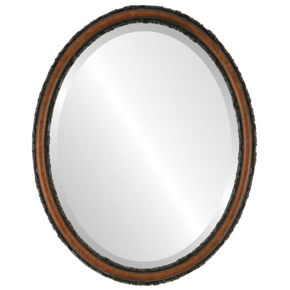 Beveled Mirror - Virginia Oval Frame - Vintage Walnut