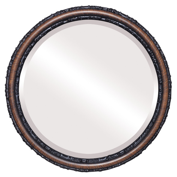 Beveled Mirror - Virginia Round Frame - Vintage Walnut