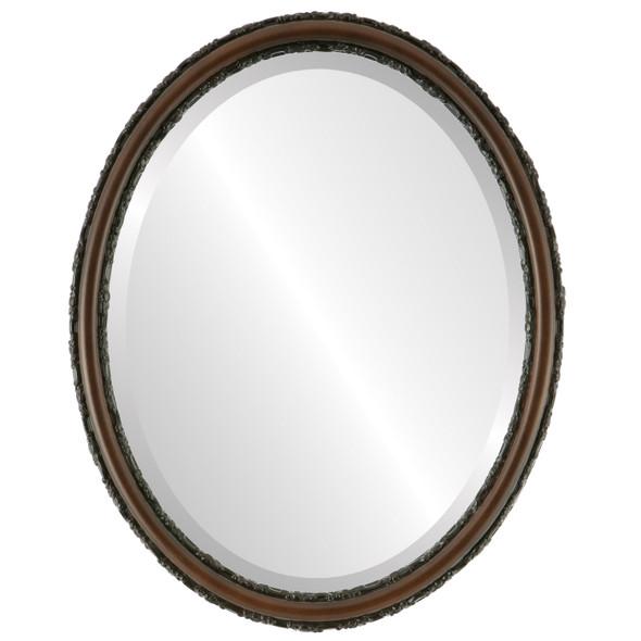 Beveled Mirror - Virginia Oval Frame - Walnut