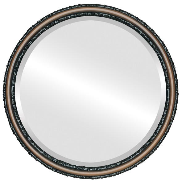 Beveled Mirror - Virginia Round Frame - Walnut