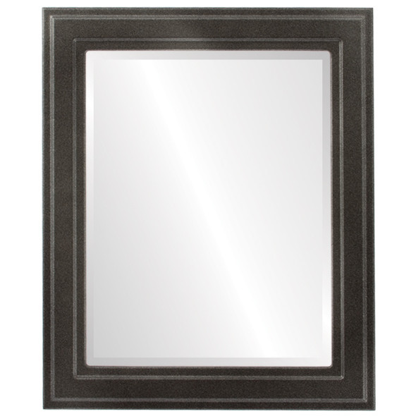 Beveled Mirror - Wright Rectangle Frame - Black Silver