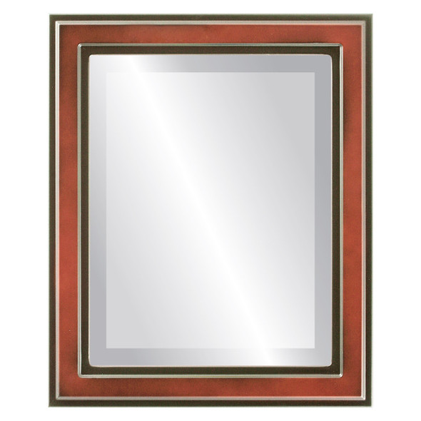 Beveled Mirror - Wright Rectangle Frame - Rosewood